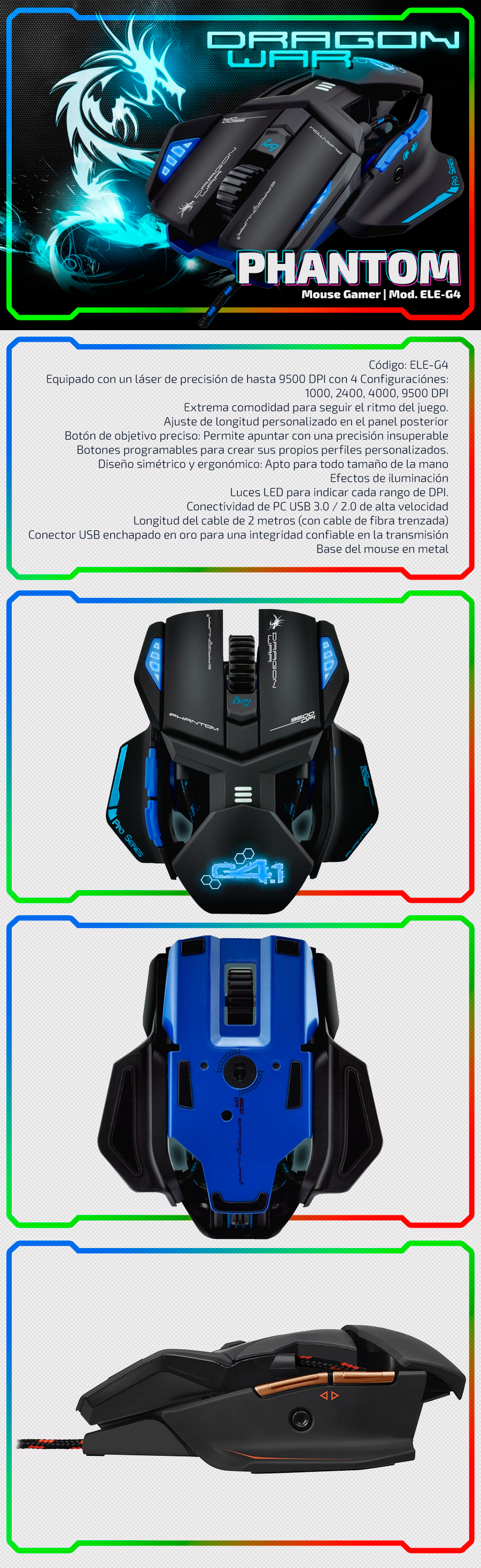 Phantom Laser | Dragon War - Gaming Mouse | ELE-G4